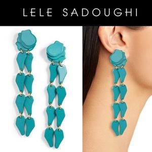 Lele Sadoughi Teal Confetti Wisteria Drop Earrings